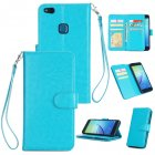 For HUAWEI P10 Lite Leather Protective Phone Case with 9 Card Position Buckle Bracket Lanyard blue