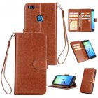 For HUAWEI P10 Lite Leather Protective Phone Case with 9 Card Position Buckle Bracket Lanyard brown