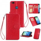 For HUAWEI P10 Lite Leather Protective Phone Case with 9 Card Position Buckle Bracket Lanyard red