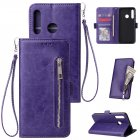 For Huawei Enjoy 9-Y7 2019-Y7 PRIME 2019 with fingerprint hole - Y7 PRO 2019 Solid Color PU Leather Zipper Wallet Double Buckle Protective Case with Stand & Lanyard purple