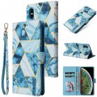 For Iphone Xs Max Mobile Phone Cover Inlay Gold Line Marble Pattern Flip Phone Leather Case blue