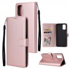 For OPPO A52/A72/A92 PU Leather Protective Phone Case with 3 Cards Slots Bracket Rose gold