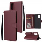 For OPPO A52/A72/A92 PU Leather Protective Phone Case with 3 Cards Slots Bracket wine red