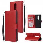 For OPPO F11 pro Wallet-type PU Leather Protective Phone Case with Buckle & 3 Card Position red