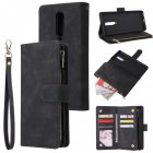 For One plus 8 Zipper Purse Leather Mobile Phone Cover with Cards Slot Phone Bracket 1 black