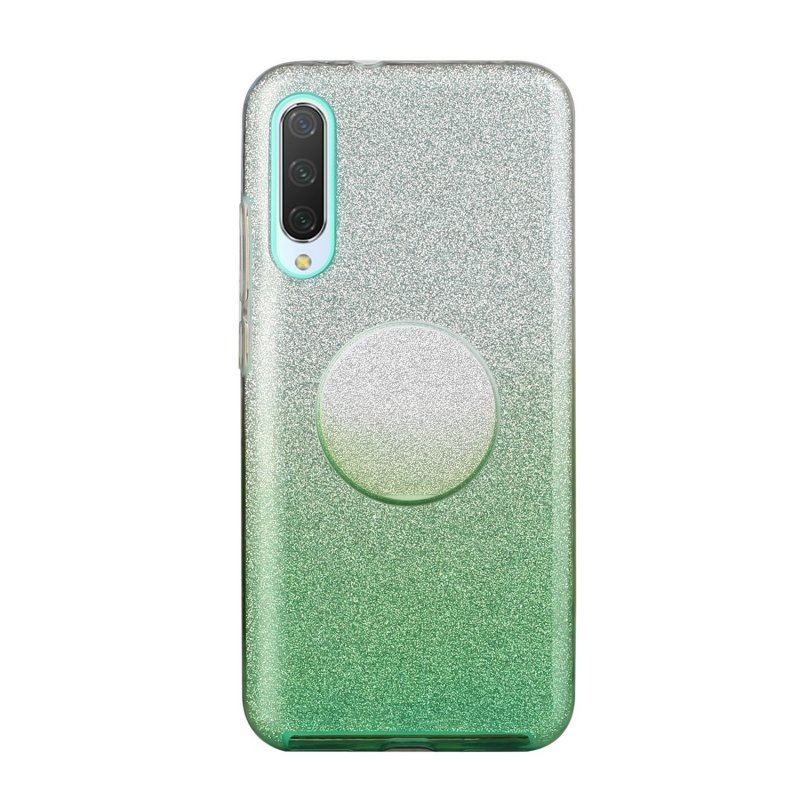 For Samsung A10/A50/A30S/A70/A20S Phone Case Gradient Color Glitter Powder Phone Cover with Airbag Bracket green