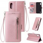 For Samsung A10 Solid Color PU Leather Zipper Wallet Double Buckle Protective Case with Stand   Lanyard Rose gold
