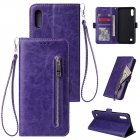 For Samsung A10 Solid Color PU Leather Zipper Wallet Double Buckle Protective Case with Stand & Lanyard purple