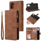 For Samsung A51 Case Smartphone Shell Precise Cutouts Zipper Closure Wallet Design Overall Protection Phone Cover  Brown