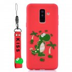 For Samsung A6 plus 2018 Cute Coloured Painted TPU Anti-scratch Non-slip Protective Cover Back Case with Lanyard red