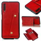For Samsung A750/A7 2018 Double Buckle Non-slip Shockproof Cell Phone Case with Card Slot Bracket red