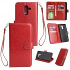 For Samsung J8 2018 PU Non-slip Shockproof Cell Phone Case with 9 Card Slots Lanyard Bracket red