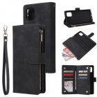 For Samsung NOTE 10 Lite Case Smartphone Shell Wallet Design Zipper Closure Overall Protection Cellphone Cover  1 black