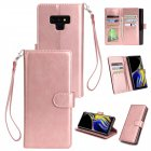 For Samsung Note 9 PU Full Protective Cover with 9 Card Slot Lanyard Bracket Buckle Rose gold