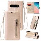 For Samsung S10 Solid Color PU Leather Zipper Wallet Double Buckle Protective Case with Stand & Lanyard gold