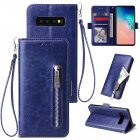 For Samsung S10 Solid Color PU Leather Zipper Wallet Double Buckle Protective Case with Stand & Lanyard blue