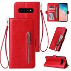 For Samsung S10 Solid Color PU Leather Zipper Wallet Double Buckle Protective Case with Stand & Lanyard red