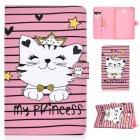 For Samsung T580 PU Laptop Protective Case with Front Snap Color Painted Smart Stay Cover  Crown cat