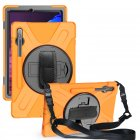 For Samsung Tab S7 T870 /Tab S7 Plus T970/T975 Protective Cover with Pen Slot Anti-fall Belt Holder + Wristband + Straps Orange_Samsung Tab S7 Plus T970/T975