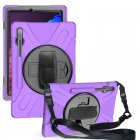 For Samsung Tab S7 T870 /Tab S7 Plus T970/T975 Protective Cover with Pen Slot Anti-fall Belt Holder + Wristband + Straps purple_Samsung Tab S7 Plus T970/T975