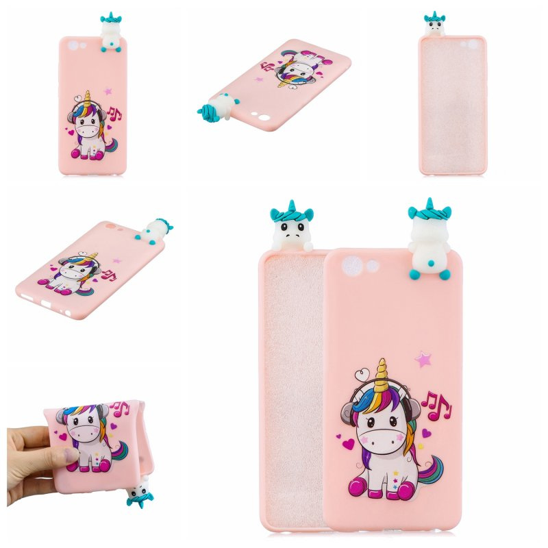 For VIVO Y71 3D Cute Coloured Painted Animal TPU Anti-scratch Non-slip Protective Cover Back Case Music unicorn