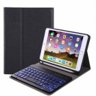 For iPad 10 2 Tablet Touch Keyboard Textured PU Leather Cover Wireless Bluetooth3 0 Connect Overall Protection Stand Function  black iPad 10 2 backlit version