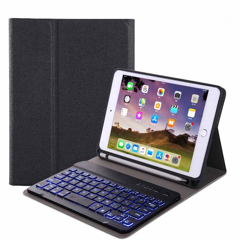 For iPad 10.2 Tablet Touch Keyboard Textured PU Leather Cover Wireless Bluetooth3.0 Connect Overall Protection Stand Function  black_iPad 10.2 backlit version