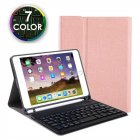 For iPad 10.2 Tablet Touch Keyboard Textured PU Leather Cover Wireless Bluetooth3.0 Connect Overall Protection Stand Function  rose gold_iPad 10.2 backlit version