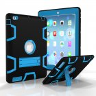 For iPad 2/3/4 PC+ Silicone Hit Color Armor Case Tri-proof Shockproof Dustproof Anti-fall Protective Cover  Black + blue