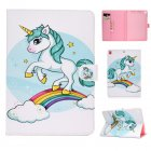 For iPad 5/6/7/8/9-iPad Pro9.7-iPad 9.7 Laptop Protective Case Color Painted Smart Stay PU Cover single horned horse