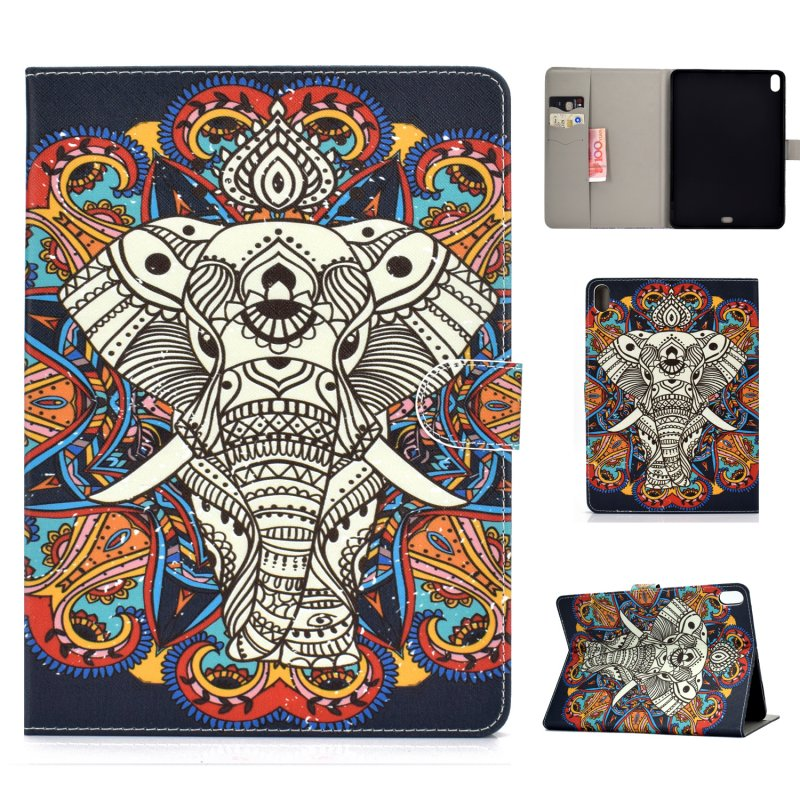 For iPad Pro 11 Laptop Protective Case Smart Stay Color Painted PU Cover with Front Snap Fun elephant
