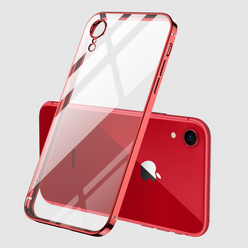 For iPhone X/XS/XR/XS Max Mobile Phone shell Square Transparent electroplating TPU Cover Cell Phone Case red