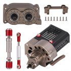Front Gearbox Transmission Box with Transfer Case Shaft Drag Link Steering Servo Bracket for SCX10 1/10 RC Car 345