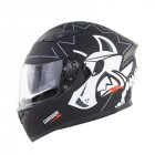 Full Face Motorcycle Helmet Sun Visor Dual Lens Moto Helmet Black gray one-eyed wolf_XXL