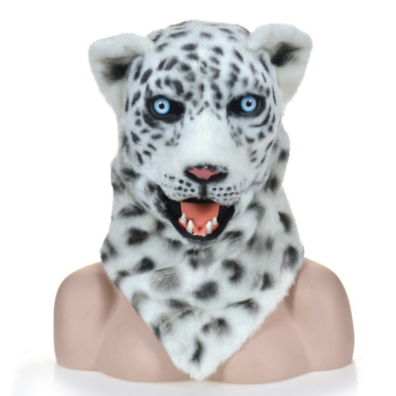 Funny Tools Activity Props Talking Plush Leopord  Mask Handmade Props white