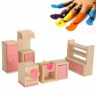 Furniture Toys Set Wooden Dollhouse Miniature for Kids Pretend Play Rooms Set kitchen