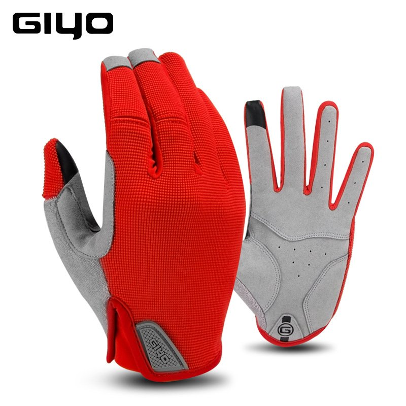 GIYO Winter Cycling Gloves Fishing Gym Bike Gloves MTB Full Finger Cycling Gloves For Bicycle red_XXL