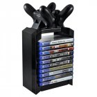 Game Disk Tower Vertical Stand for PS4 Dual Controller Charging Dock Station for  4 PRO Slim black