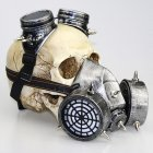 Gas Mask Goggle Toy with Rivets Decor Halloween Props Silver