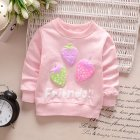 Girl T-Shirt Strawberry Print Bottoming Long-sleeved Shirt Round Collar Infant Pullover  TX-pink_73CM