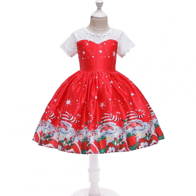 Girls Dress Christmas Short-sleeve Printed Satin Dress for 3-9 Years Old Kids Figure 5_150cm