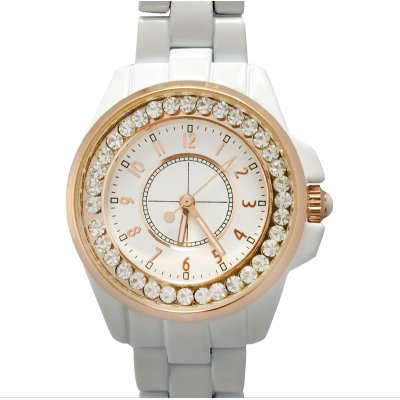 Girls White Analog Diamond Watch
