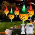 Glowing Witch Hat String Light for Halloween Ghost Festival Decoration Lamp 6pcs Tassel hat+remote control battery box