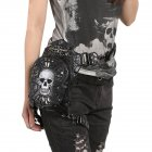 Gothic Steam Punk Shoulder Bag Retro Rock Skull Personality Fanny Pack Black PU Leather Women Waist Bags