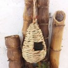 Grass Plaited Bird Nest Hanging Breeding Box Birdcage for Home Office Garden Decoration L