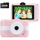 HD Digital Camera for Kids Creative Dual Cameras Mini Camera Pink + 32G