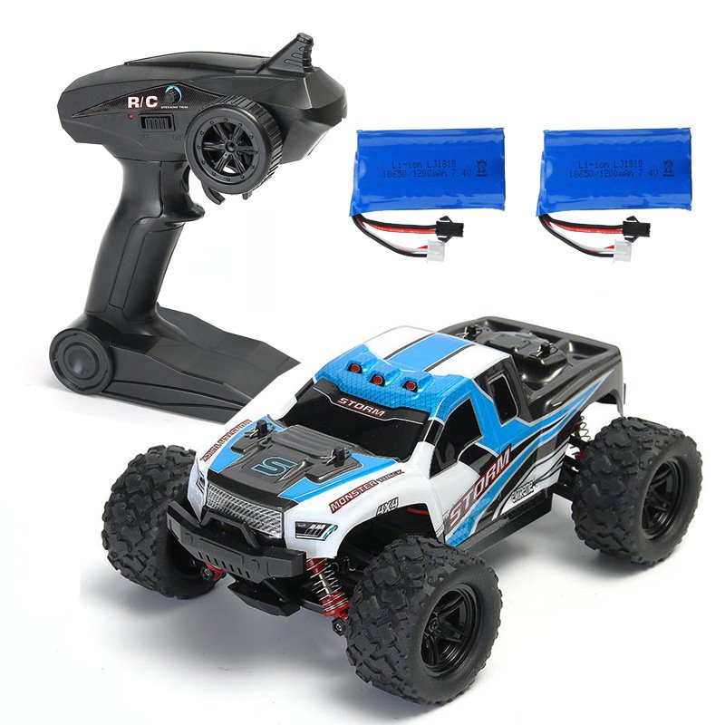 HS 18301/18302 1/18 2.4G 4WD 40 + MPH High Speed Big Foot RC Racing Car OFF-Road Vehicle Toys  blue 2 batteries