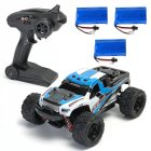 HS 18301/18302 1/18 2.4G 4WD 40 + MPH High Speed Big Foot RC Racing Car OFF-Road Vehicle Toys  blue 3 batteries