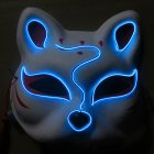 Half-Faced LED Light Emitting Japanese styel Mask for Halloween Dress up Party Dance 16X18CM blue