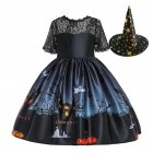 Halloween Princess Dress Lace Tube Top Dress Halloween Ghost Print Kids Dress Set with Hat WS002-black [with hat]_150cm